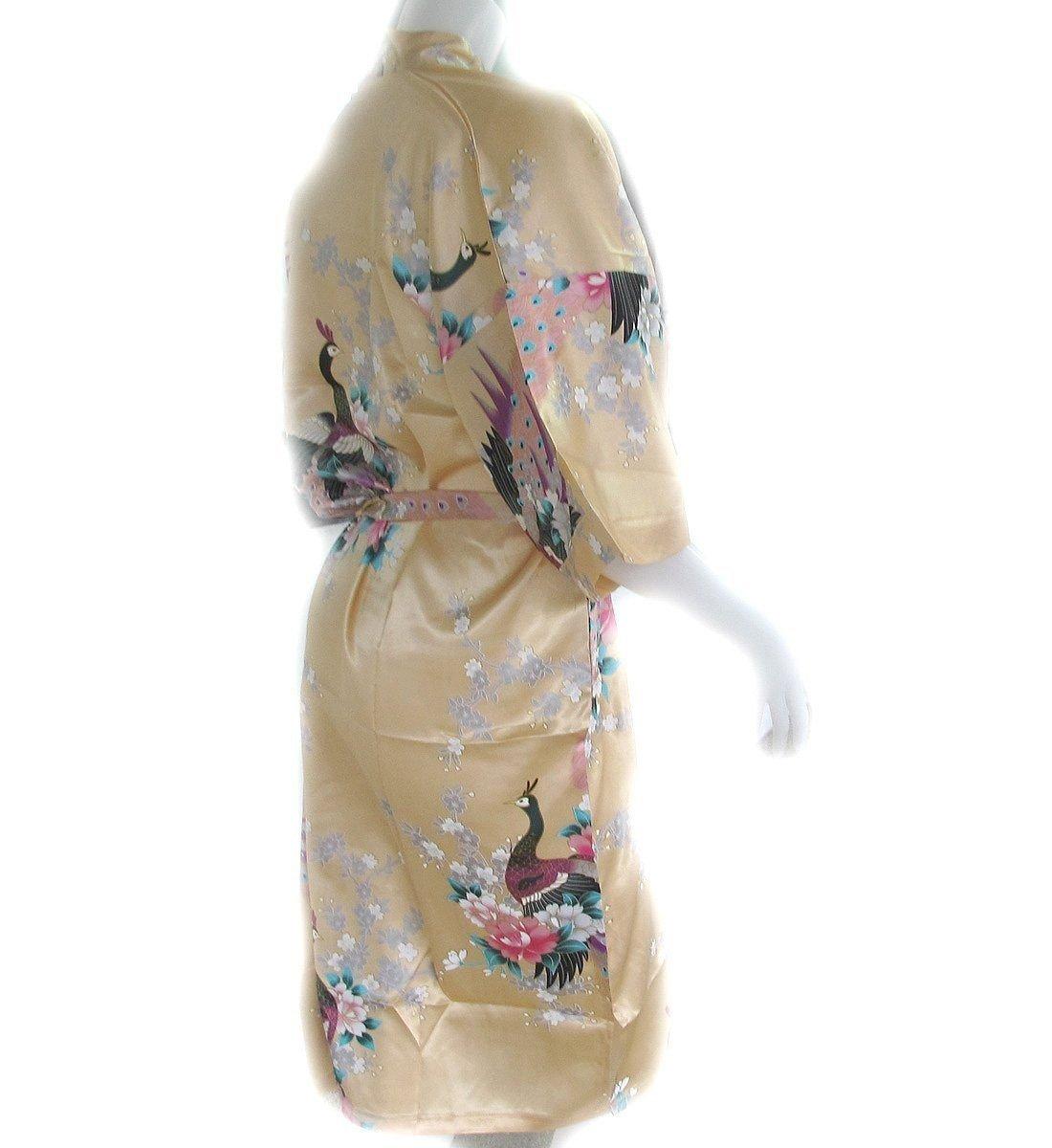 Thai Vintage Women's Gold Kimono Silk Satin Bath Wrap Robe Peacock Design 1