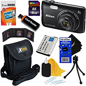 Nikon COOLPIX A300 20.1MP Digital Camera with 8x Zoom Lens & Built-in Wi-Fi (Black) - International Version (No Warranty) + EN-EL19 Battery + 8pc 16GB Accessory Kit w/HeroFiber Gentle Cleaning Cloth