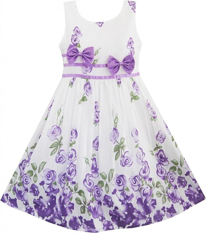 Sunny Fashion Girls Dress Purple Rose Flower Double Bow Tie Party Sundress