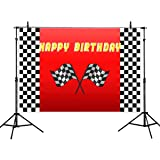 Allenjoy 7x5ft Car Racing Themed Birthday Backdrops for Photography Racing Flag Black White Grid Red Photo Backgrounds Birthday Party Banner Photo Booth Props (Color: black, Tamaño: 7ft by 5ft)