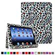 Fintie iPad Folio Leather Case Cover for iPad 4th Generation With Retina Display, the New iPad 3 & iPad 2 (Built-in magnet for sleep / wake feature) - Leopard Rainbow