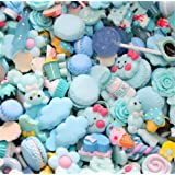 30 Pack Cute Candy Slime Beads Fruit Dessert Ice Cream Resin Charms Slices Flatback Buttons for Handcraft Accessories Scrapbooking Phone Case Decor (Baby Blue) (Color: Baby Blue, Tamaño: 10mm-25mm/0.39inch-1inch)