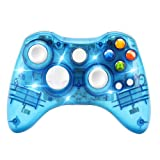 Wireless Game Controller for Microsoft Xbox 360 Console/PC Windows7/8/10-Trasparent Colorfull LED Lights (Blue) (Color: blue)
