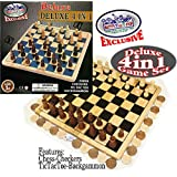 Matty's Toy Stop Exclusive Deluxe 4-in-1 Chess, Checkers, Tic Tac Toe & Backgammon Wooden Game Set