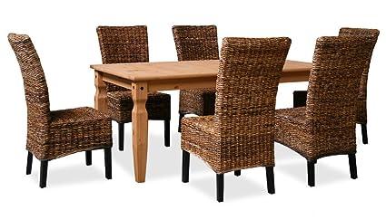 KMH®, Esszimmer Sitzgruppe (6 Rattanstuhle aus dickem Bananengeflecht und 1 massiver Esszimmertisch) (#201040)