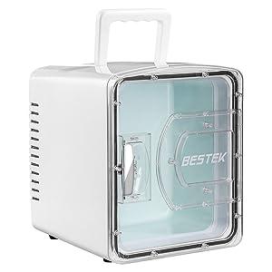 BESTEK 冷温庫 家庭 車載両用 ミニ冷蔵庫 として使用可能 小型でポータブル 8L ホワイト BTCR08