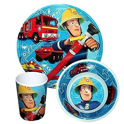Feuerwehrmann Sam - Kinder Set Frühstück Geschirr 3-teilig