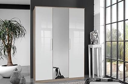 3-trg.Kleiderschrank Pearlglanz Softwhite/Eiche sägerau-Nachb., mit Spiegeltur, mit 2 Einlegeböden und 2 Kleiderstangen, Maße: B/H/T ca. 135/199/58 cm
