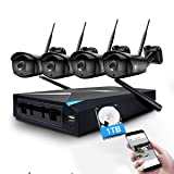 Wireless Security Camera System, JOOAN 1.3MP 4 x 960P WiFi Cameras 4CH WiFi NVR Wireless Security CCTV Surveillance Systems Remote and Monitor Plug and Play Indoor/Outdoor - with 1TB Hard Drive (Color: 4*960P camera+1*1080 NVR(with 1TB HDD))