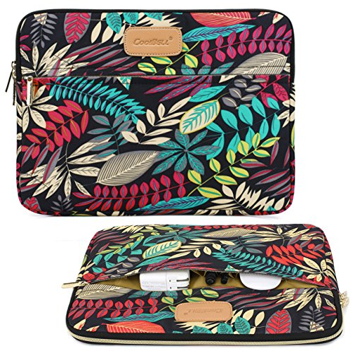 CoolBell 15.6 Inch Laptop Sleeve Case Cover With Colorful Leaves Pattern Ultrabook Sleeve Bag