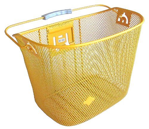 MTS Basket with Bracket Yellow, Front Quick Release Basket, Removable, Wire Mesh Bicycle basket, NEW, Yellow