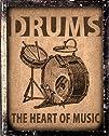 Drums set sign  Music Studio retro vintage wall decor