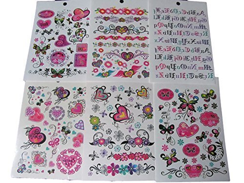 one-book-of-6-sheets-85-girls-ladies-black-arty-flowers-hearts-butterflies-letters-temporary-tattoos