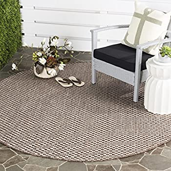 "Safavieh Courtyard Collection CY8653-36321 Light Brown and Light Grey Round Indoor/ Outdoor Area Rug (67"" Diameter)"