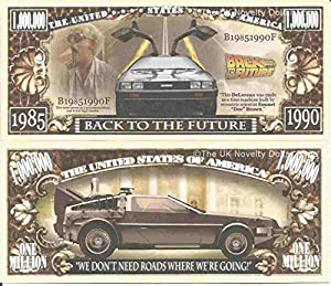 Novelty Dollar Back To The Future DeLorean Sports Car Time Machine Million Dollar Bills x 4