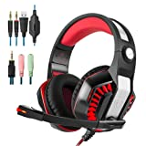 Gaming Headset Surround 3.5mm Stereo Headband Headphone with LED light Volume Control Microphone for Xbox One PS4 Latop PC Headphones (red) (Color: Red)