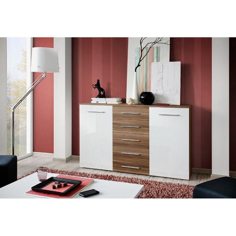 JUSThome Foxa Kommode Sideboard Wohnzimmerschrank (HxBxT): 103x150x40 cm Farbe: Pflaume Matt / Weiß Matt
