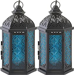 2 Blue Glass Candle Lantern Tabletop Centerpieces