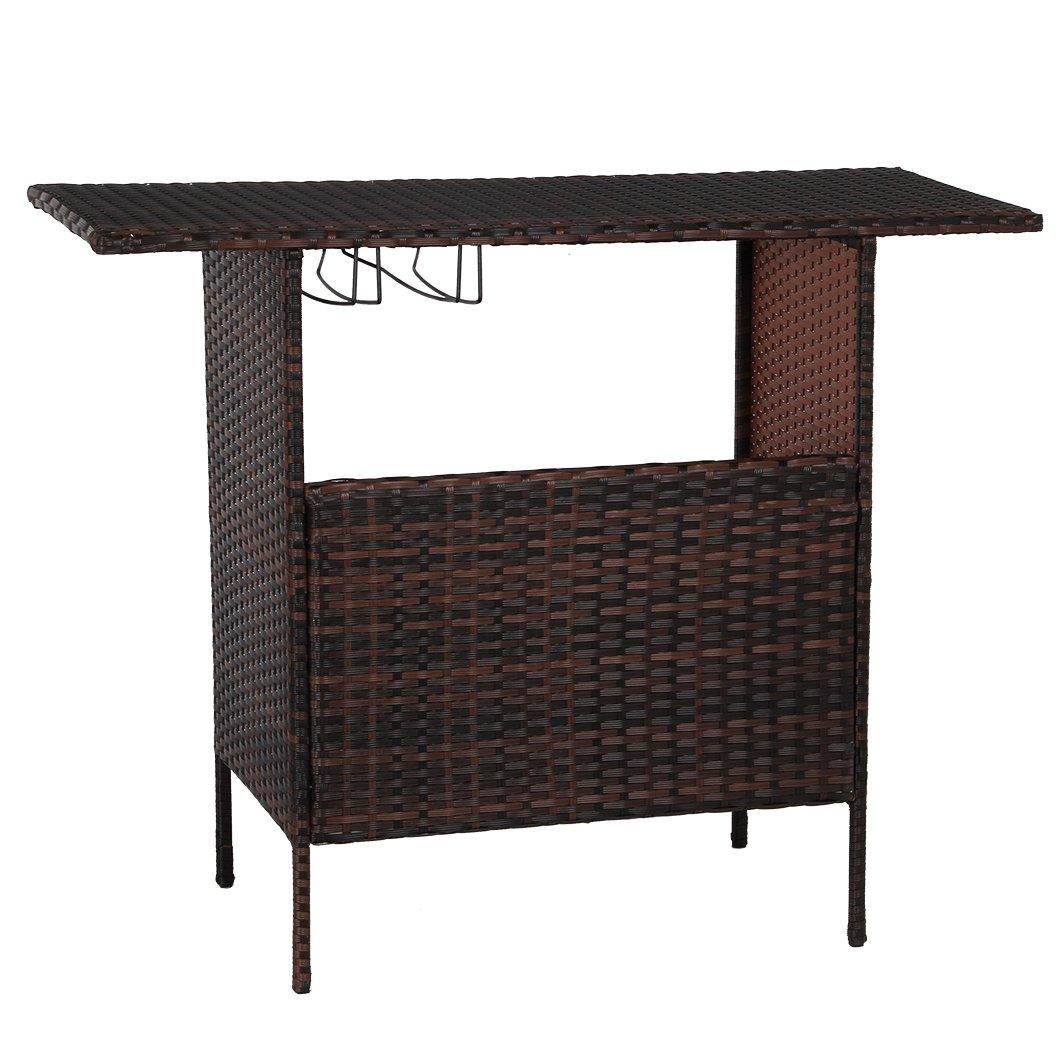 U-MAX Outdoor Rattan Wicker Bar Counter Table Shelves Garden Patio Furniture - Brown