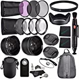 52mm 2x Telephoto Lens With Pouch + 52mm Wide Angle Lens + 52mm 3 Piece Filter Set (UV, CPL, FL) + 52mm Lens Hood...