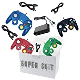 4 Controllers for Gamecube,with 4 Extension Cables and 4-Port USB Adapter for Switch PC Wii U Console (Color: BBRG)