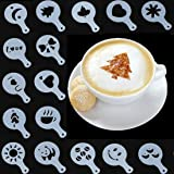yueton Pack of 16 Cappuccino Coffee Barista Stencils Template Strew Pad Duster Spray