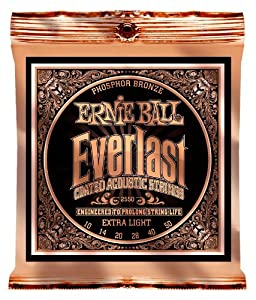 Ernie Ball 2550 Everlast Acoustic Guitar Strings Phosphor Bronze    Light  10   50  available at Amazon for Rs.1603