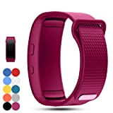 Feskio Samsung Gear Fit 2 Pro/Fit 2 SM-R360 Replacement Watch Band Strap Accessory Soft Silicone Wristband Strap Sport Band Bracelet for Samsung Gear Fit 2 Pro/SM-R360 Smartwatch (Color: Roese Red, Tamaño: Small)