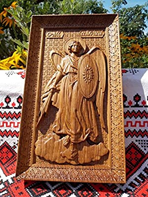 Wooden Carved Religious icon Saint Michael the Archangel wall art 2
