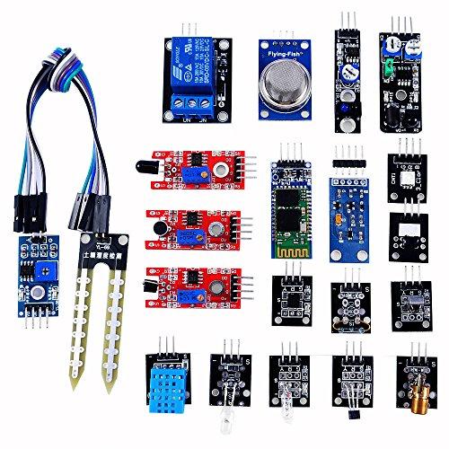 ベスト センサーモジュール キット 20種セット for Arduino / raspberry pi 3 モデル B raspberry pi 2 Model B 収納ケース付き(温度センサー/ホール効果センサー/赤外線トラッキングセンサー/タッチセンサー/マイク・サウンドセンサー/デジタル温度&湿度センサー/3色フルカラー SMD LEDモジュール/赤外線リモコン受信モジュール/赤外線送信モジュール/Bluetooth モジュールリレー モジュール/レーザーセンサー/遮光センサー/水銀チルトセンサー/リードスイッチ/火炎検知センサー/赤外線障害物検知センサー/土壌湿度検出モジュール/光センサー/可燃ガス&煙センサー)
