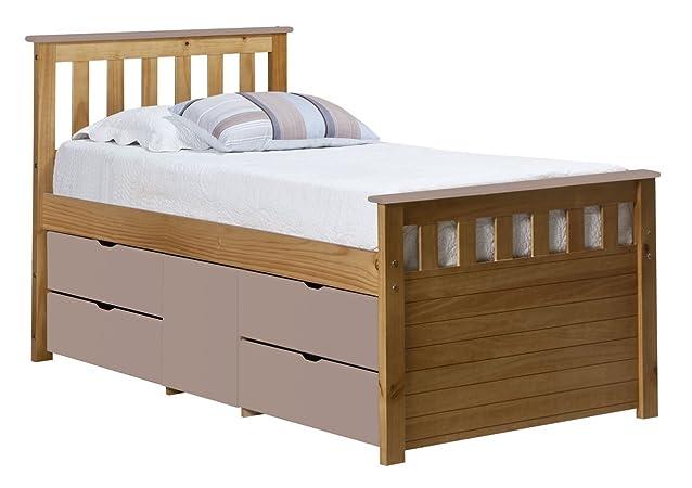 0,9m standard per letto singolo, capitani Style, 4cassetti e 1anta, in legno di pino anticato e rosa dettagli in legno MDF, Great Storage Solution, 5anno di garanzia