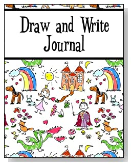 Draw and Write Journal For Kids - Younger kids will love the storyland scene with prince, princess, castle, horse and rainbow that covers this draw and write journal for young children.
