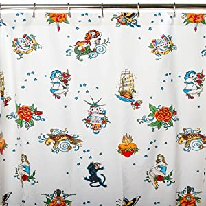 Sin in Linen Flash Tattoo Print Shower Curtain, White