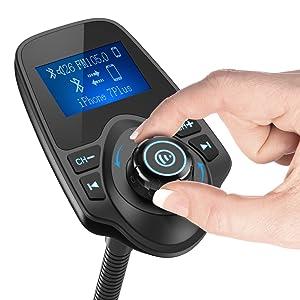 Nulaxy Bluetooth Car FM Transmitter Audio Adapter Receiver Wireless Handsfree Voltmeter Car Kit TF Card AUX 1.44 Display - KM18 Black Matte (Color: Matte)