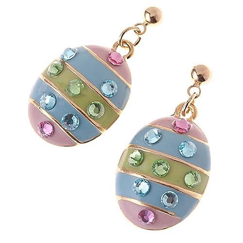 Spring Easter Jewelry Egg Multi-Colored Crystal Rhinestone Dangle Charm Earrings
