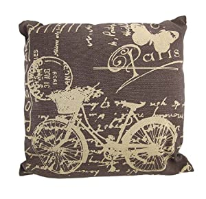 Decorative Pillows Travel Theme : Amazon.com - Brown / Tan Canvas French Postcard Bicycle Theme Throw Pillow 16 Inch - Travel ...