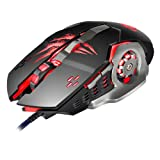 APEDRA A8 Programmable Wired Gaming Mouse 4 Adjustable DPI Levels 1200/1600/2400/3200DPI 6Buttons Breathing LED Light 3D Scroll Wheel Computer Mouse for PC Laptop (Black)