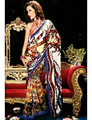 Utsav Fashion Women'sMulticolor Faux Georgette Saree with Blouse