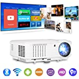 Bluetooth Wireless Smart HD Projector WiFi, Video Projector 4600 Lumen 1280x800 Native Home Theater Android LCD LED Projectors HDMI USB Aux Audio VGA, Home Cinema Game Consoles APPs Outdoor Movies (Color: wireless wifi bluetooth projector 4600 lux)