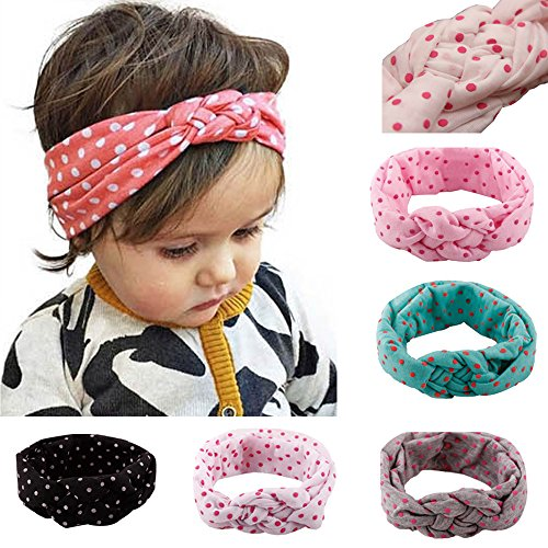 Xife® Baby Girls Turban Headbands Hair Wraps Soft Cotton Hair Bow (Dot 5 color)