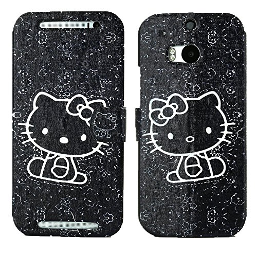 Mylife (Tm) Doodle Art Black Hello Kitty {Graphic Design} Faux Leather (Card, Cash And Id Holder + Magnetic Closing) Slim Wallet For The All-New Htc One M8 Android Smartphone - Aka, 2Nd Gen Htc One (External Textured Synthetic Leather With Magnetic Clip +
