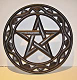 Pentagram, Wooden Wall Hanging, Fair Trade 30cm Dark Wood