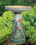 Butterflies Handcrafted Clay Birdbath Set - Made in the USA