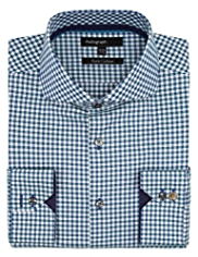 Autograph Pure Cotton Gingham Checked Oxford Shirt