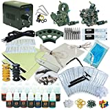 1TattooWorld Professional Tattoo Kit 2 Tattoo Machines, Digital Power Supply, 15 Color 5ml Tattoo inks, Grips, Needles, Transfer Paper etc, OTW-KTB215A