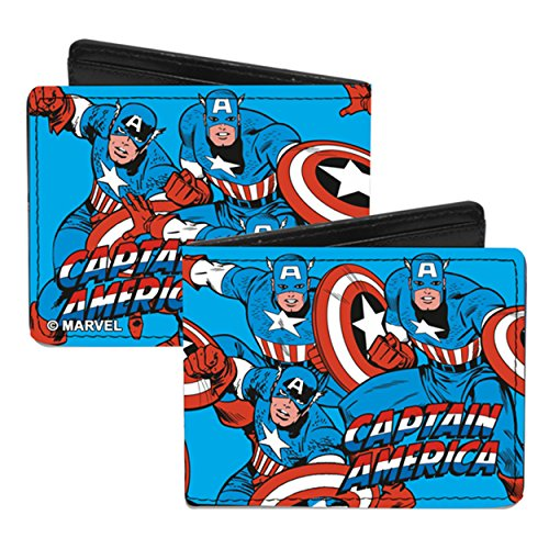 Marvel Comics Bi-Fold Wallet - Captain America Super Hero Action Poses w/ Shield