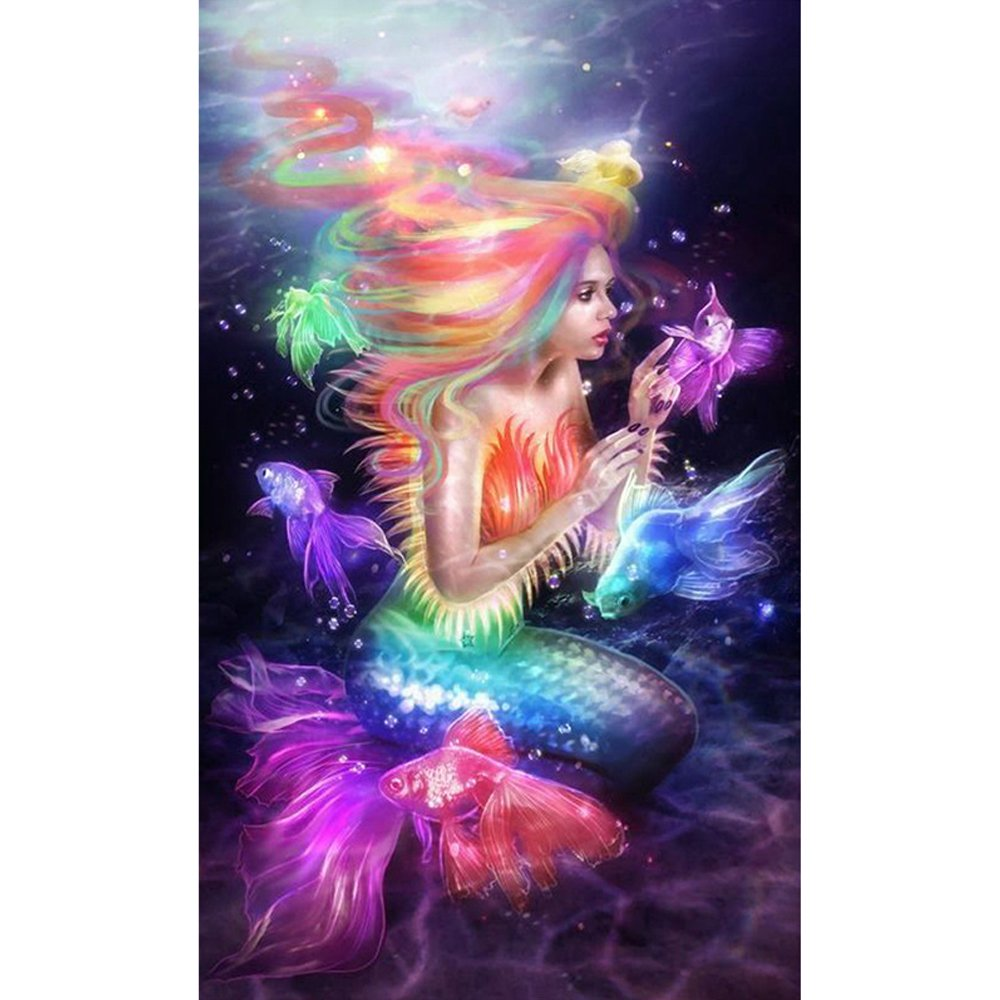 Diamond mosaic 5d diamond painting mermaid picture of for Paintings of crystals