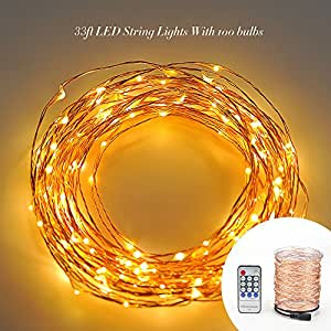 Starry String Lights Gold : Dimmable Led String Lights Copper Wire 33ft 100 Individual LEDs Starry Light with Warm White ...