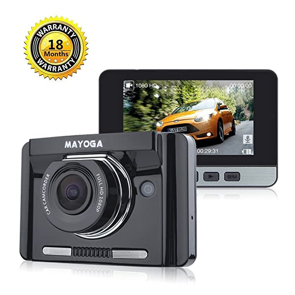 MAYOGA Car Dash Cam FHD 1080P Car DVR Video Recorder 170 Degree Wide-angle Dashboard Driving Camera with 2.7 TFT LCD/GPS/G-sensor/Night Vision/WDR/Loop Recording/Parking Monitor/Motion Detection/HDMI (Color: Black-A22)
