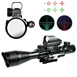 IRON JIA'S 4-12X50EG Tactical Rifle Scope with Holographic 4 Reticle Sight & Red Laser Combo Airsoft Weapon Sight Hunting